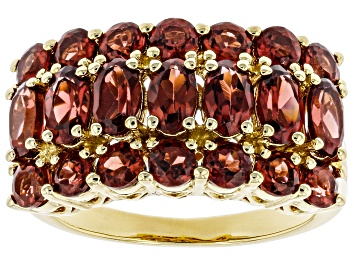 Picture of Red Garnet 18k Yellow Gold Over Sterling Silver Ring 3.60ctw