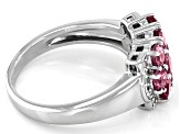 Pink Garnet Rhodium Over Sterling Silver Ring 1.30ctw