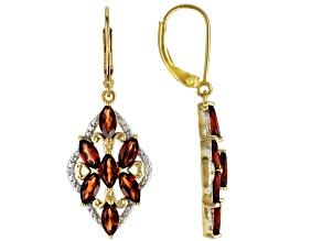 Red Garnet 18k Yellow Gold Over Silver Dangle Earrings 3.59ctw