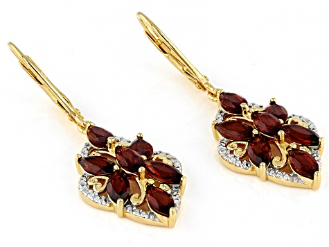 Red Garnet 18k Yellow Gold Over Silver Dangle Earrings 3.59ctw