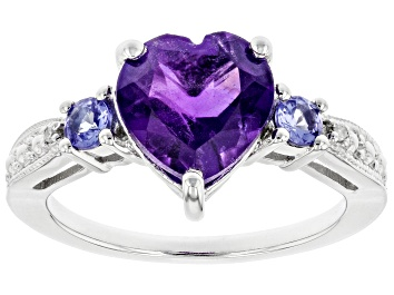 Picture of Purple Amethyst Rhodium Over Silver Ring 2.33ctw