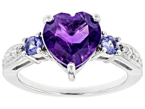 Purple Amethyst Rhodium Over Silver Ring 2.33ctw