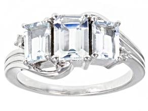 Blue Aquamarine Rhodium Over Silver Ring 1.64ctw