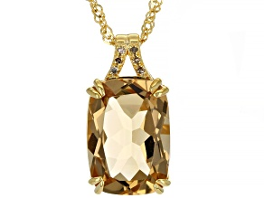 Champagne Quartz 18k Yellow Gold Over Silver Pendant With Chain. 5.56ctw