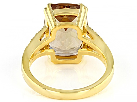 Champagne Quartz 18k Yellow Gold Over Sterling Silver Ring 2.76ctw