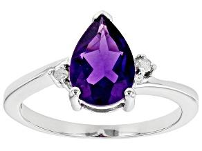 Purple Amethyst Rhodium Over Silver Ring 1.53ctw