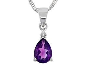 Purple Amethyst Rhodium Over Silver Pendant Chain 1.52ctw