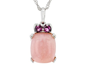 Pink Opal Rhodium Over Silver Pendant Chain 0.34ctw