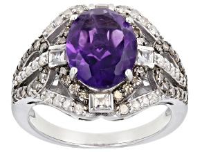 Purple Amethyst Rhodium Over Silver Ring 2.66ctw