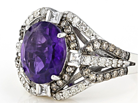 Purple Amethyst Rhodium Over Silver Ring 2.66ctw