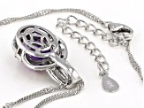 Purple African Amethyst Rhodium Over Silver Pendant With Chain 2.47ctw