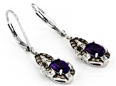 Purple African Amethyst Rhodium Over Silver Earrings 1.94ctw