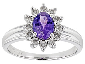 Blue Tanzanite Rhodium Over Sterling Silver Ring. 0.72ctw