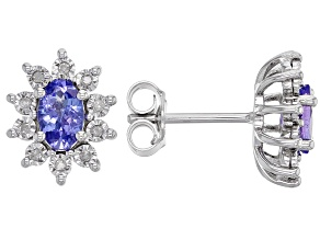 Blue Tanzanite Rhodium Over Sterling Silver Earrings 0.89ctw