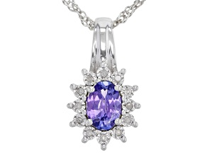Blue Tanzanite Rhodium Over Sterling Silver Pendant With Chain. 0.72ctw