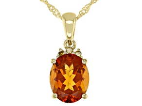 Orange Madeira Citrine 18K Yellow Gold Over Sterling Silver Pendant Chain 2.18ctw