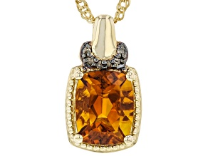 Cushion Madeira Citrine With Diamond 18k Yellow Gold Over Sterling Silver Pendant With Chain 2.37ctw