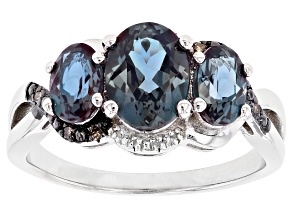 Blue Lab Alexandrite Rhodium Over Sterling Silver Ring 2.13ctw