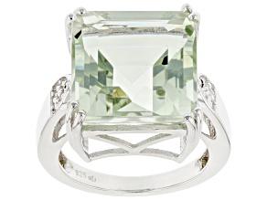 Green Prasiolite Rhodium Over Sterling Silver Ring 10.20ctw
