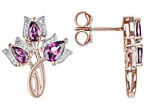 Purple Rhodolite 18k Rose Gold Over Silver Stud Earrings 1.80ctw