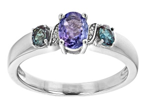 Blue Tanzanite  Rhodium Over Sterling Silver Ring 0.90ctw