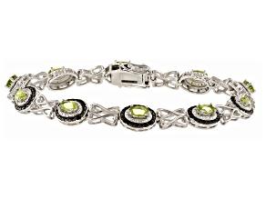 Green Manchurian Peridot ™ Rhodium Over Sterling Silver Bracelet. 2.75ctw