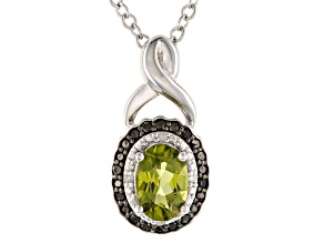 Green Manchurian Peridot ™ Rhodium Over Sterling Silver Pendant With Chain. 0.83ctw