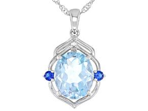Blue Topaz Rhodium Over Silver Pendant W Chain 5.17ctw
