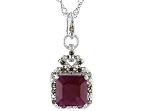 Red Ruby Platinum Over Sterling Silver Pendant With Chain 3.80ctw