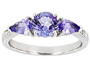 Blue Tanzanite Rhodium Over Sterling Silver Ring 1.40ctw