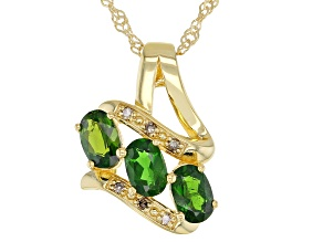 Green Chrome Diopside 18k Yellow Gold Over Silver Pendant Chain 1.32ctw