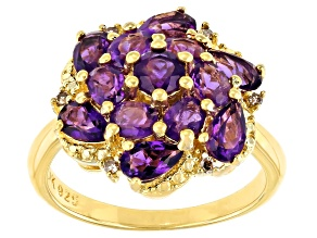 Purple Amethyst 18K Yellow Gold Over Silver Ring 2.15ctw