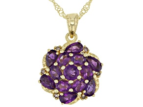 Purple Amethyst 18K Gold Over Silver Pendant With Chain 2.15ctw