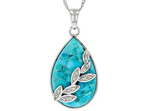 Blue Turquoise Rhodium Over Sterling Silver Pendant With Chain .04ctw