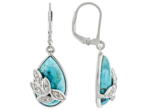 Blue Turquoise Rhodium Over Sterling Silver .05ctw