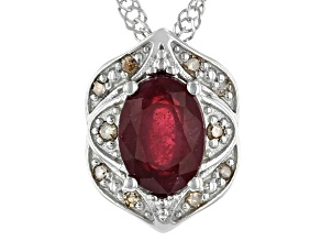 Red Ruby Rhodium Over Silver Pendant With Chain 1.52ctw