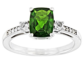 Green Chrome Diopside Rhodium Over Silver Ring 1.45ctw