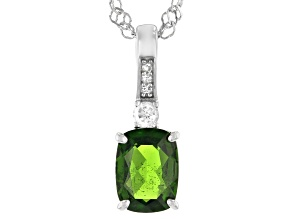 Green Chrome Diopside Rhodium Over Silver Pendant Chain 1.36ctw