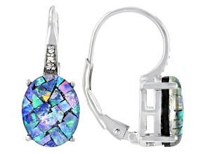 Multicolor Opal Rhodium Over Sterling Silver Earrings. 0.01ctw