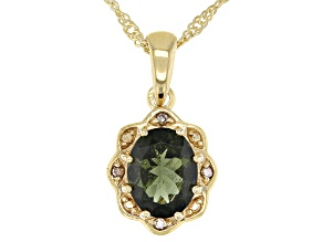 Green Moldavite With Champagne Diamond 18K Gold Over Sterling Silver Pendant With Chain 1.20ctw