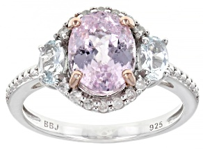 Pink Kunzite Rhodium Over Sterling Silver Ring 2.59ctw