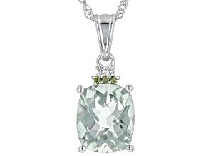 Green Prasiolite Rhodium Over Silver Pendant With Chain 5.32ctw