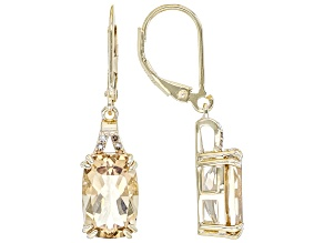 Brown Quartz 18k Yellow Gold Over Silver Earrings 7.34ctw