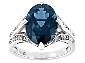 Blue Topaz Rhodium Over Sterling Silver Ring 6.46ctw