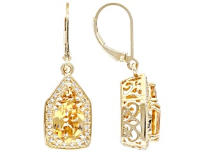 Yellow Citrine 18K Yellow Gold Over Sterling Silver Earrings 3.25ctw