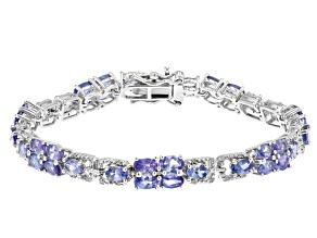 Blue Tanzanite With White Diamond Rhodium Over Sterling Silver Bracelet 9.79ctw