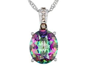 Multi-Color Mystic Quartz Rhodium Over Silver Pendant Chain 4.34ctw