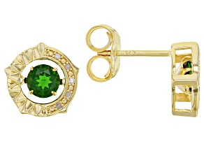 Green Chrome Diopside 18K Yellow Gold Over Silver Stud Earrings 0.98ctw
