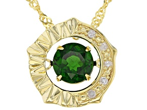 Green Chrome Diopside 18K Yellow Gold Pendant With Chain 0.85ctw