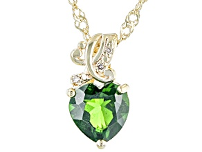 Green Chrome Diopside 18K Yellow Gold Over Silver Pendant Chain 1.22ctw